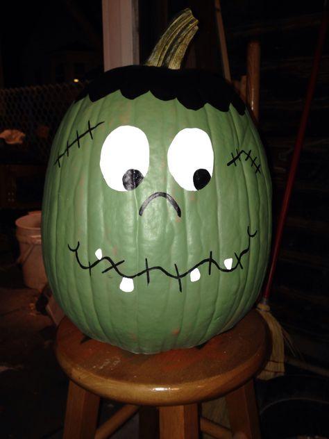 Frankenstein Painted Pumpkin More Halloween