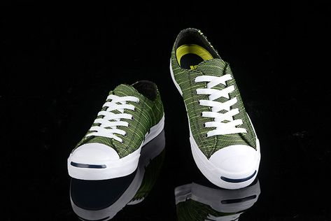 Converse Jack Purcell Green Knit Pattern Low Canvas Shoes
