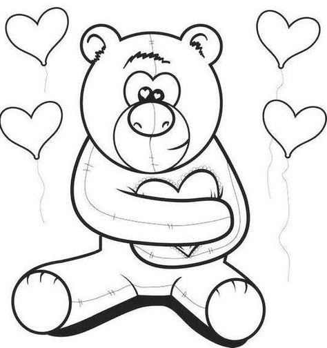 teddy bear spreading love coloring picture | Teddy Bears ...