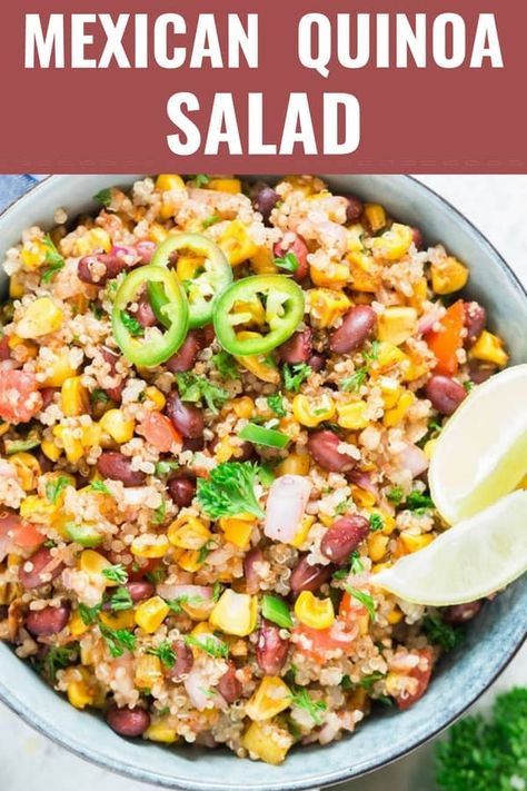 Mexican quinoa salad bowl recipe needs few ingredients from your pantry and about 20 minutes to bring it to the table. It's Easy, Healthy, Delicious! #quinoasalad #healthy #cleaneating #vegan #bowl #saladbowl #dressing #easy #recipes #withblackbeans #easysalad #salads #lowcarb