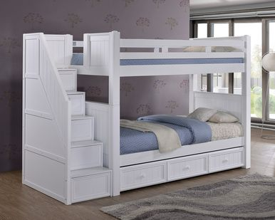 Dillon White Twin Bunk Bed With Storage Stairs Bunk Beds With