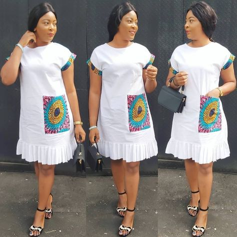 Cute Ankara Plain and Patterned Gown Styles