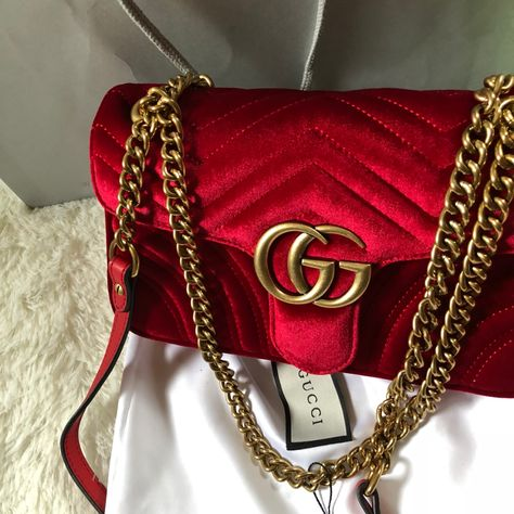 Gucci marmont red velvet bag , it's been a year. Gucci Purses, Burberry Handbags, Gucci Bags, Purses And Handbags, Coach Handbags, Luxury Purses, Luxury Bags, Luxury Handbags, Fashion Handbags