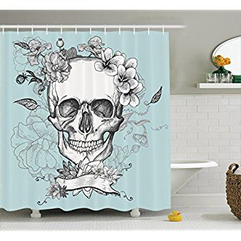 Grunge Home Decor Shower Curtain Set By Ambesonne Skull And Flowers Day Of The Dead Mexican Tr Shower Curtain Decor Custom Shower Curtains Bathroom Decor Sets