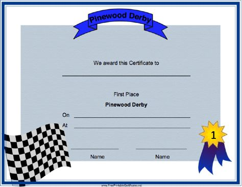 A checkered flag announces the winner of this Pinewood Derby Second