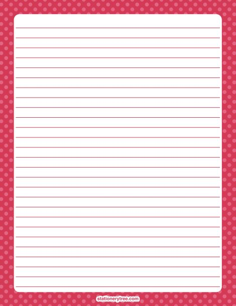 Printable pink polka dot stationery and writing paper Multiple - printable writing lines