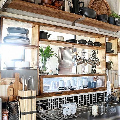 キッチン Diy Tile 見せる収納 Diy セルフリノベーション などの