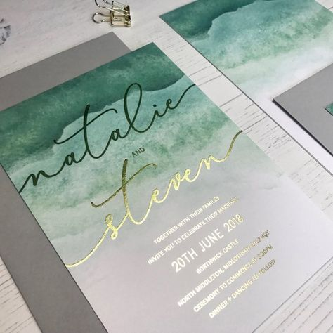 An uber-chic gold foil wedding invitation printed on a striking green watercolour background. Pairs perfectly with dove grey envelopes and gold wax seals. Available in gold or rose gold foil. All wording can be customised. --- ORDER A SAMPLE --- To order a sample, simply select