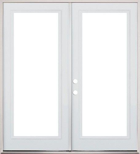 60 Full Lite Fiberglass Patio Prehung Double Door Classic patio