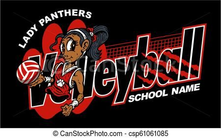 Lady Panthers Volleyball Vector Stock Illustration Royalty Free Illustrations Stock Clip Art Icon Stock Clipart Icons Wild Cats Art Icon Volleyball Team