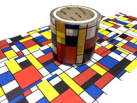 Composition With Red Blue And Yellow Washi Tape 4cm X 5m Piet Etsy Red And Blue Washi Tape Washi