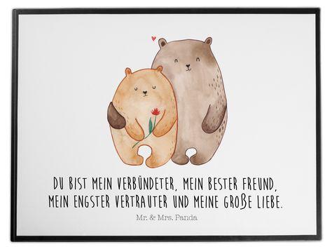 Schreibtischunterlage Bären Liebe aus Kunststoff  Schwarz - Das Original von Mr. & Mrs. Panda.  Die Schreibtischunterlage wird in Deutschland exklusiv für Mr. & Mrs. Panda gefertigt und ist aus hochwertigem Kunststoff hergestellt. Eine ganz tolle Besonderheit ist die einzigartige Einlegelasche an der Seite, mit der man das Motiv kinderleicht gegen andere Motive von Mr. & Mrs. Panda tauschen kann.    Über unser Motiv Bären Liebe  Das Gefühl verliebt zu sein und seinen Verbündeten gefunden zu habe