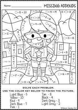 Color By Number Missing Addends Super Hero Themed Math Worksheets Math Coloring Math Math Worksheets