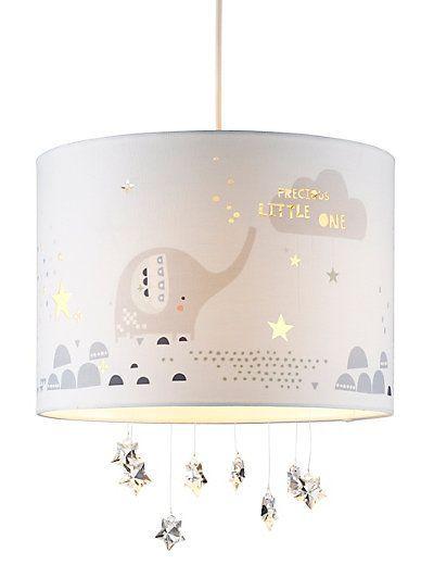 Grey Cool Mint Stars Elephant Zig Zag Lampshade Ceiling Light Shade Nursery Kids