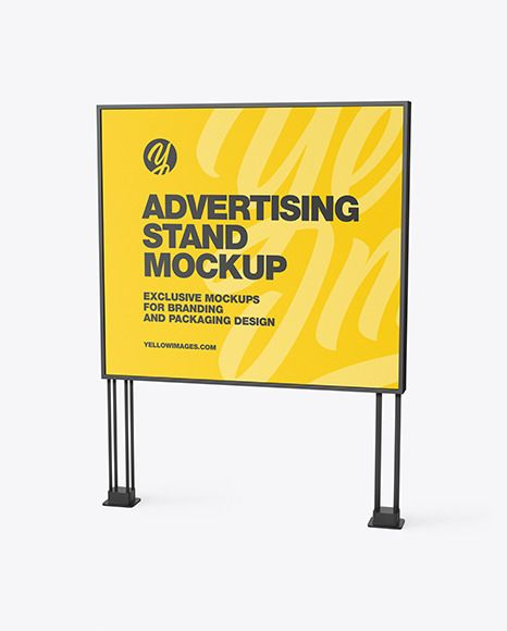 Led Display Stand Mockup In Outdoor Advertising Mockups On Yellow Images Object Mockups In 2021 Outdoor Advertising Mockup Mockup Display Stand