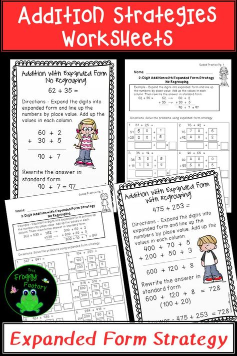 expanded form strategy  Addition Strategies Worksheets - Expanded Form Bundle ...