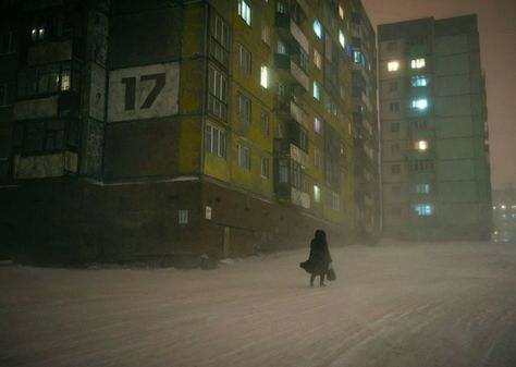 Norilsk, an industrial city in Russia, located above the Arctic Circle : Cyberpunk Nocturne, Cyberpunk, Dark Tales, Christophe Jacrot, Look Dark, Arctic Circle, Urban Photography, Japanese Photography, Photography Gear