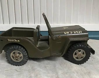 1960s Tonka Toys Army Jeep,Army Green Army Jeep, Rubber
