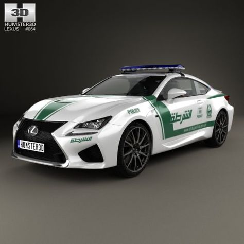 Lexus Rc F Police Dubai 2015 Fully Editable And Reusable 3d Model Of A Car 3d 3dmodel 3ddesign 2 Door 2015 2017 Coupe Dubai Lexus Police Police Cars