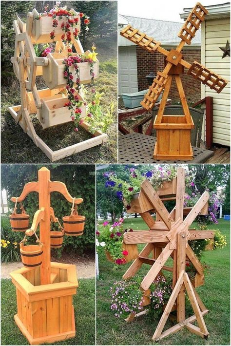 Old Used Shipping Pallets DIY Creations Be prepared to explore a fascinating pallet wood garden art Diy Garden Projects, Diy Pallet Projects, Woodworking Projects Diy, Woodworking Plans, Wishing Well Garden, Wishing Well Plans, Wood Pallets, Pallet Wood, Shipping Pallets
