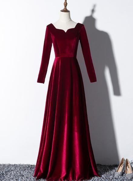 25++ Red velvet dress long information