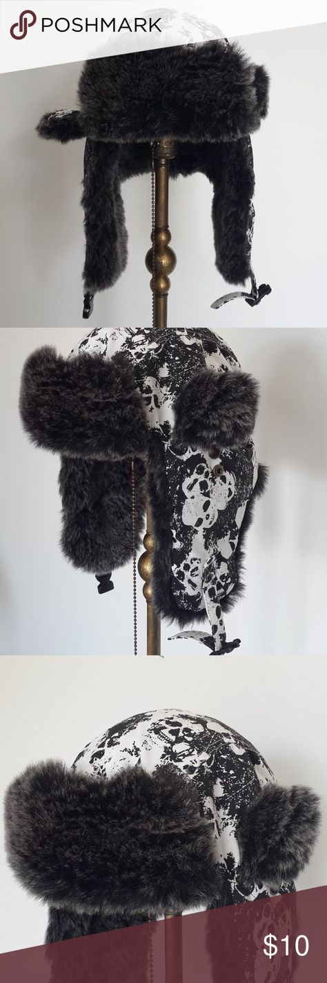 32272429a9c Urban Pipeline • Black   White Skull Trapper Hat Faux fur lined trapper hat  with quilted