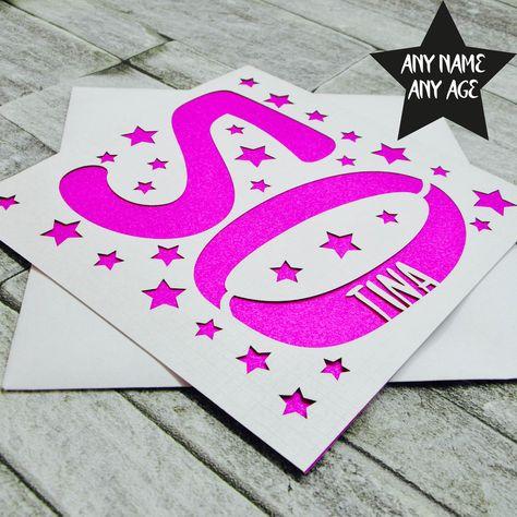 Personalised 50th Birthday Card 50th Birthday Card Fiftieth