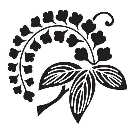 Wisteria Edafuji Japanese Crest Silhouette Stencil Linocut Prints
