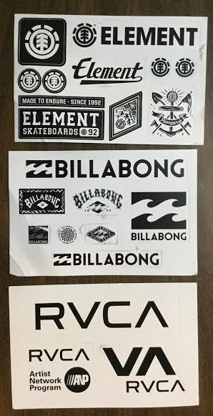 Free Element Billabong And Rvca Stickers With Images Surf