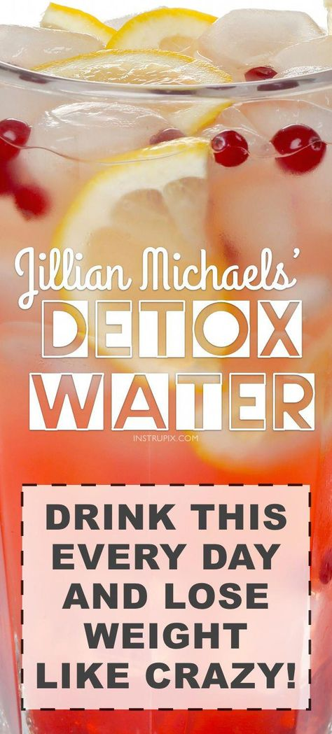 Detox Water Recipe To Lose Weight Fast! Ingredients + Water) Cleansing detox water recipe to lose weight fast! These 3 ingredients are natural diuretics, helping you shed the bloat and excess water. They also assist in fat burning and appetite suppressi Jillian Michaels, Weight Loss Detox, Weight Loss Drinks, Detox Water To Lose Weight, Healthy Detox, Healthy Drinks, Healthy Water, Vegan Detox, Healthy Recipes