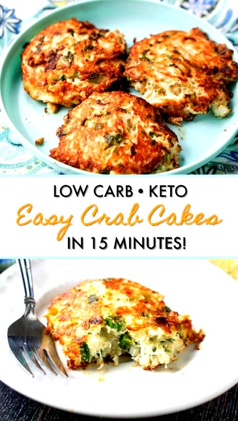 Easy Low Carb Crab Cakes - delicious keto dinner in just 15 minutes! Make a big batch with smaller crab cakes for a great low carb appetizer. #crabcakes #easyrecipe #lowcarbappetizer #lowcarbdinner #ketorecipe #quickdinner #crab #seafood