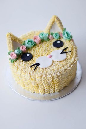 Fabulous Flower Crown Cat Cake With Images Cat Cake Birthday Cake For Funny Birthday Cards Online Inifodamsfinfo