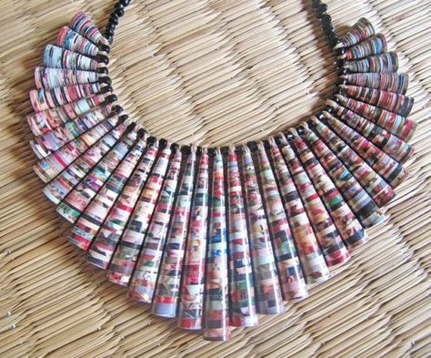 LAST PIECE Charming Ruffle Craft Paper Bead Necklace by Papermelon