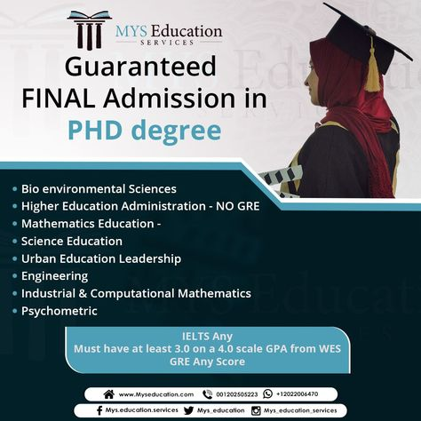 Guaranteed Final Admission In Phd Degree Bioenvironmental Sciences Higher Educati Higher Education Administration Mathematics Education Science Education