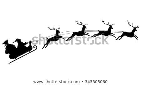 Silhouette Of Santa Claus Riding In A Sleigh With Reindeer Reindeer Silhouette Santa Claus Reindeer Christmas Stencils