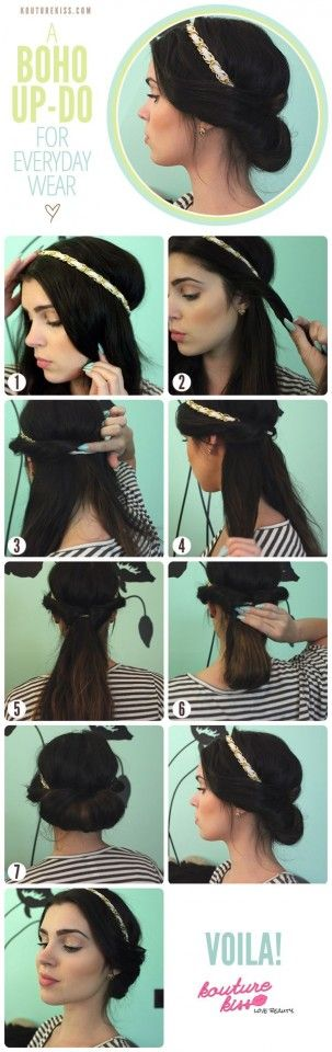 Easy Boho updo for everday wear or a special affair, just add your favorite headband! :: Retro Updo:: Vintage Hairstyles:: Anytime hair:: Boho how to