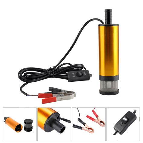 12v Car Electric Submersible Pump Diesel Fuel Water Oil Transfer Submersible Pump With On Off Switch Oil Engine Transf Diesel Fuel Pumping Car Submersible Pump
