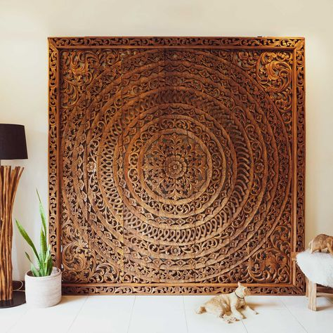 Large Handmade Relief Carving Tropical