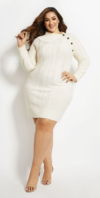 Plus Size Bodycon Sweater Dresses In Body Contouring Styles Plus Size Sweater Dress Casual Dress Outfits Trendy Plus Size Dresses