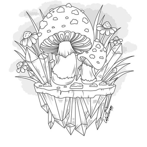 Mushrooms + Toadstools Coloring Pages For Adults