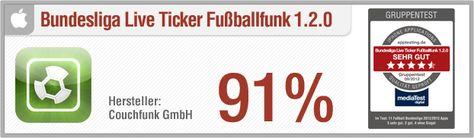 Vergleichstest Bundesliga Apps: Bundesliga Live Ticker Fußballfunk // Pro: Interaktiver Live-Ticker, Tabelle, Spielplan, ansprechendes Design, anwenderfreundlich // http://www.apptesting.de/2012/09/vergleichstest-bundesliga-apps-bundesliga-live-ticker-fusballfunk/