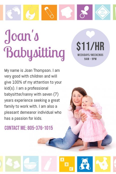 This babysitting & daycare flyer & ad template is available in multiple page sizes (full, half, quarter). White Babysitting Poster Babysitting Flyers Babysitting Babysitting Fun