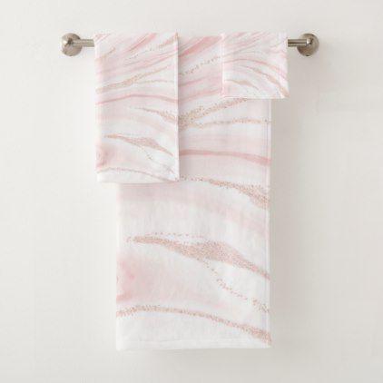 Modern Blush Pink Marbleized Abstract Design Bath Towel Set