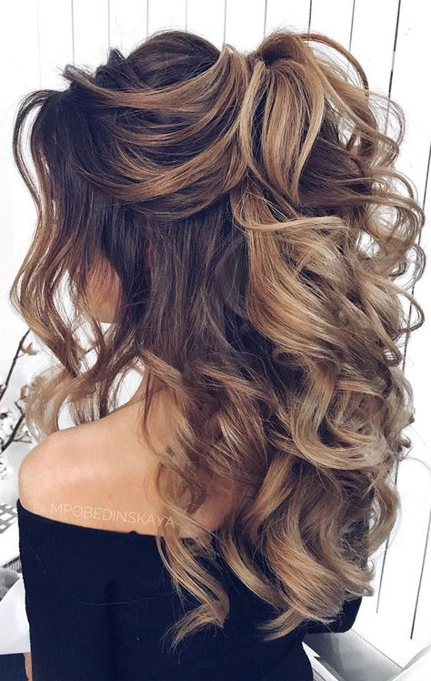 Half up dos are a great way to keep hair fancy without being formal. Ideal for . Half up dos are a great way to keep hair fancy without being formal. Ideal for either everyday wear , more posh occasions or weddings. Long Hair Wedding Styles, Wedding Hair Down, Wedding Hair And Makeup, Hair Styles For Formal, Long Curly Wedding Hair, Up Dos For Medium Hair, Medium Hair Styles, Curly Hair Styles, Formal Hairstyles For Long Hair