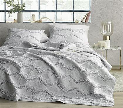 Moksha Textured Ruffles Twin Xl Quilt Eternal Gray Ruffle