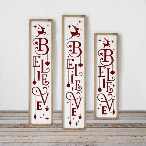 Believe with Ornaments SVG, Christmas, 3 vertical files for long porch sign, front door, for Cutting Machines, Commercial Use Digital Design