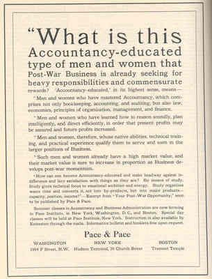 This is an example of a Pace accounting course brochure announcing availability of training in various locations (New York, Washington, DC and Boston)