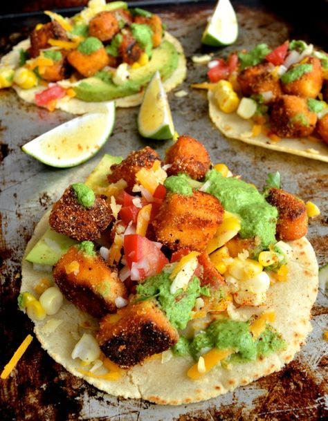 Loaded Crispy Tofu Tacos (with homemade tortillas), there is nothing unhealthy in this recipe!