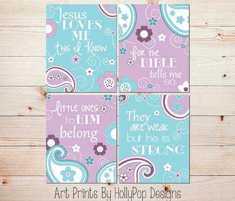Baby Nursery Wall Art Prints Purple Aqua