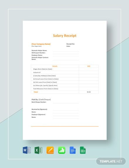 Salary Receipt Template Word Excel Apple Pages Google Docs Google Sheets Apple Numbers Receipt Template Financial Apps Free Receipt Template